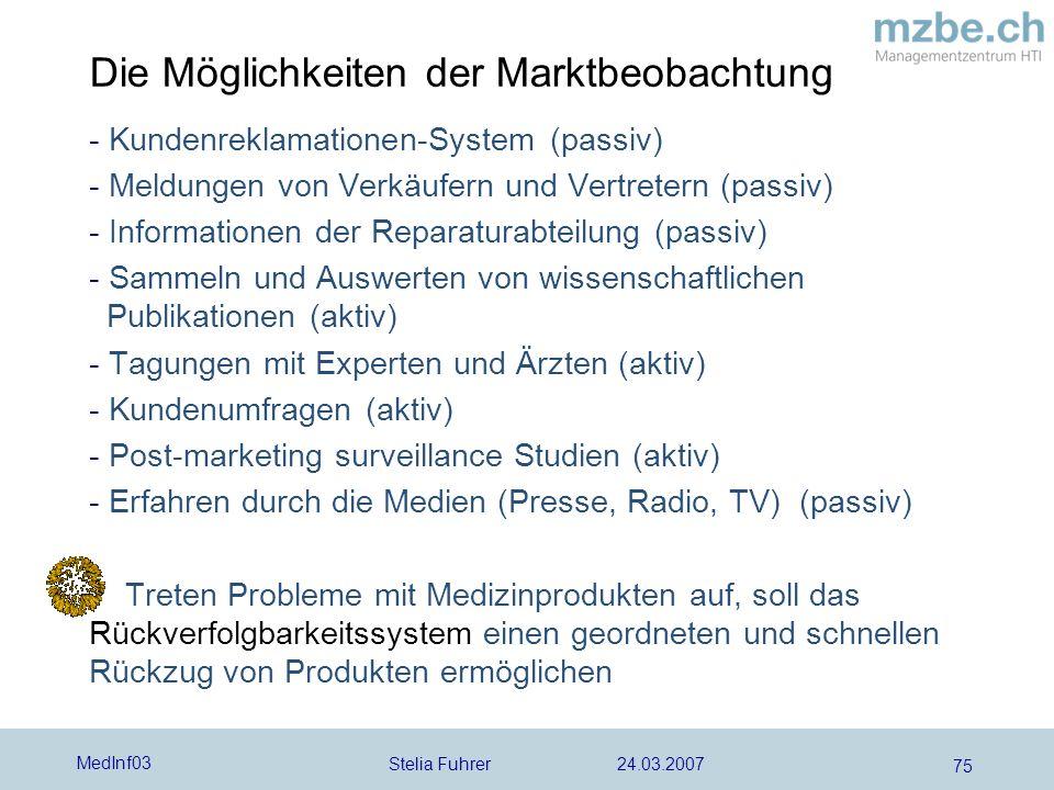 Stelia Fuhrer 24.03.2007 MedInf03 75 Die Möglichkeiten der Marktbeobachtung - Kundenreklamationen-System (passiv) - Meldungen von Verkäufern und Vertr