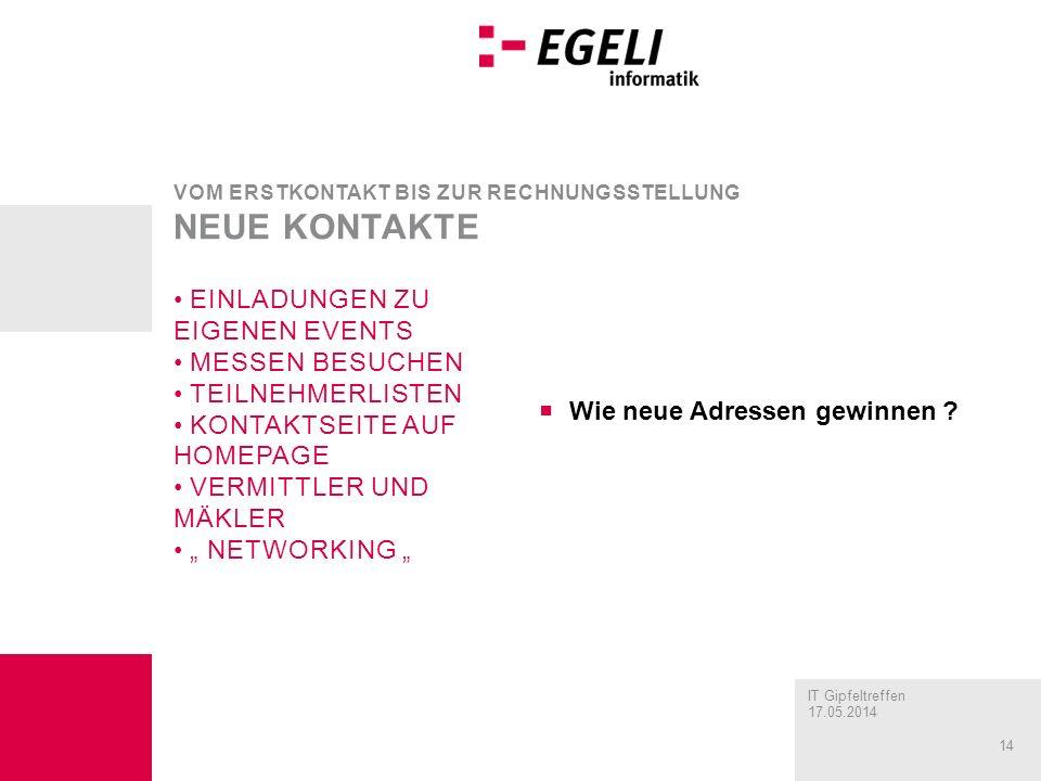 IT Gipfeltreffen 17.05.2014 14 Wie neue Adressen gewinnen .