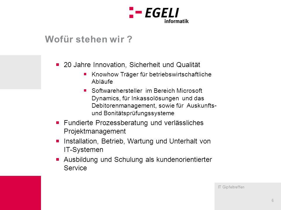 IT Gipfeltreffen 6 Wofür stehen wir ? 20 Jahre Innovation, Sicherheit und Qualität Knowhow Träger für betriebswirtschaftliche Abläufe Softwareherstell