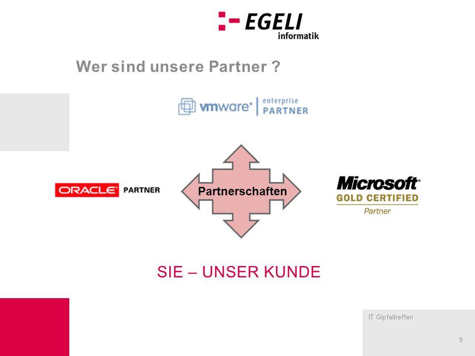 IT Gipfeltreffen 9 Wer sind unsere Partner ? Partnerschaften SIE – UNSER KUNDE