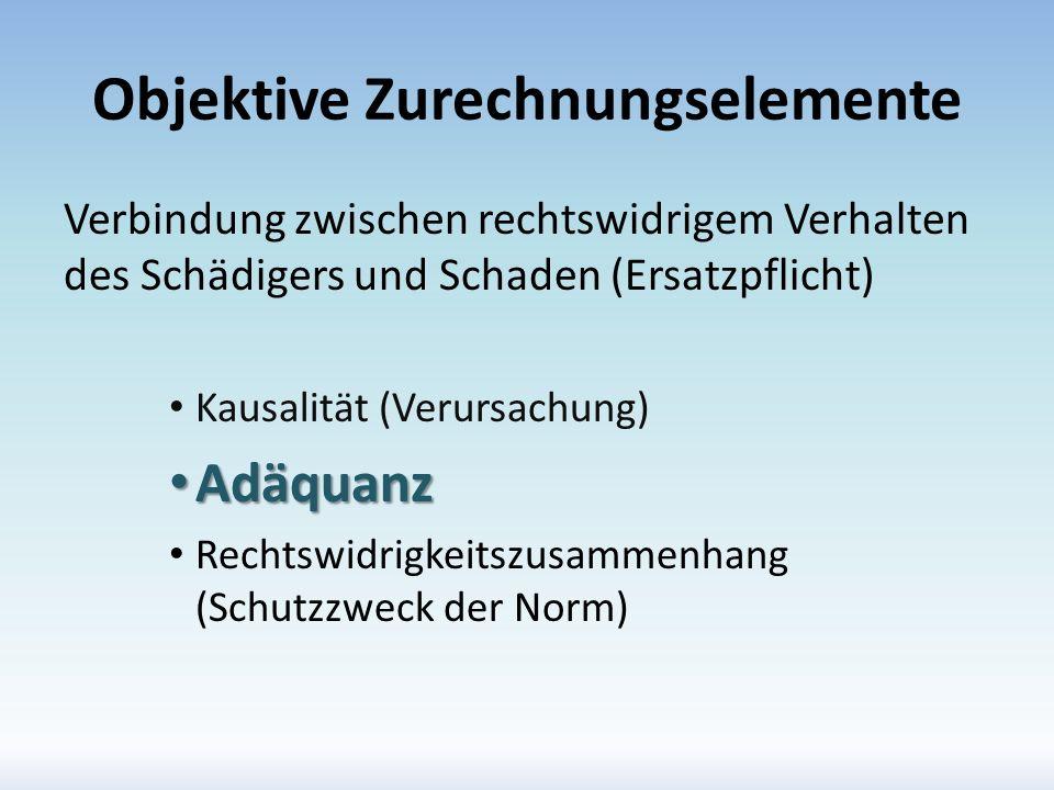 Objektive Zurechnungselemente Verbindung zwischen rechtswidrigem Verhalten des Schädigers und Schaden (Ersatzpflicht) Kausalität (Verursachung) Adäqua