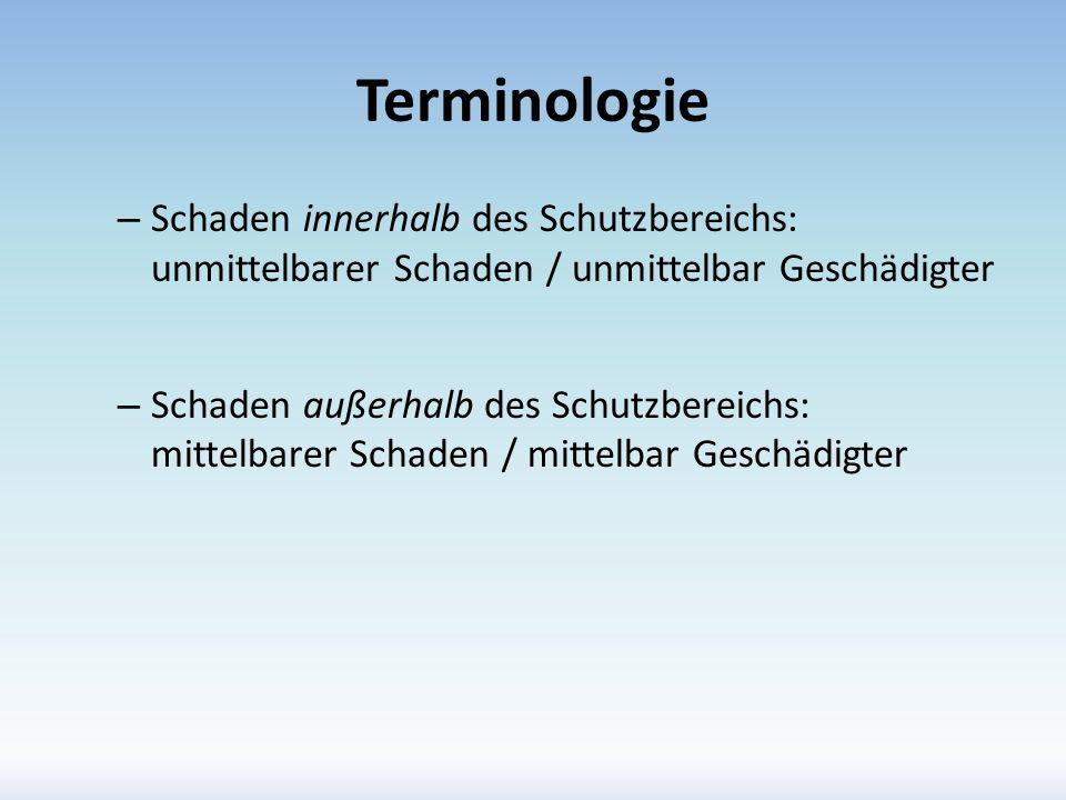 Terminologie – Schaden innerhalb des Schutzbereichs: unmittelbarer Schaden / unmittelbar Geschädigter – Schaden außerhalb des Schutzbereichs: mittelba