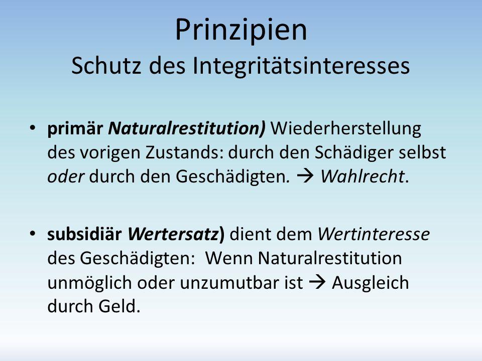 Prinzipien Schutz des Integritätsinteresses primär Naturalrestitution) Wiederherstellung des vorigen Zustands: durch den Schädiger selbst oder durch d