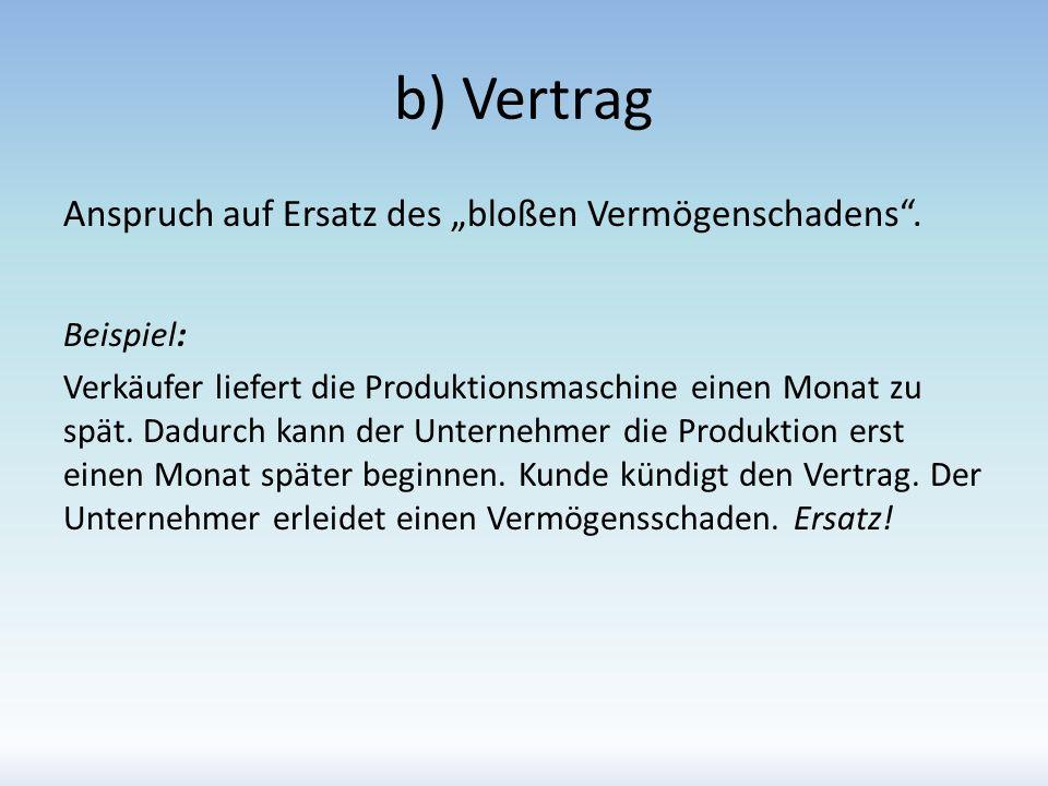b) Vertrag Anspruch auf Ersatz des bloßen Vermögenschadens. Beispiel: Verkäufer liefert die Produktionsmaschine einen Monat zu spät. Dadurch kann der