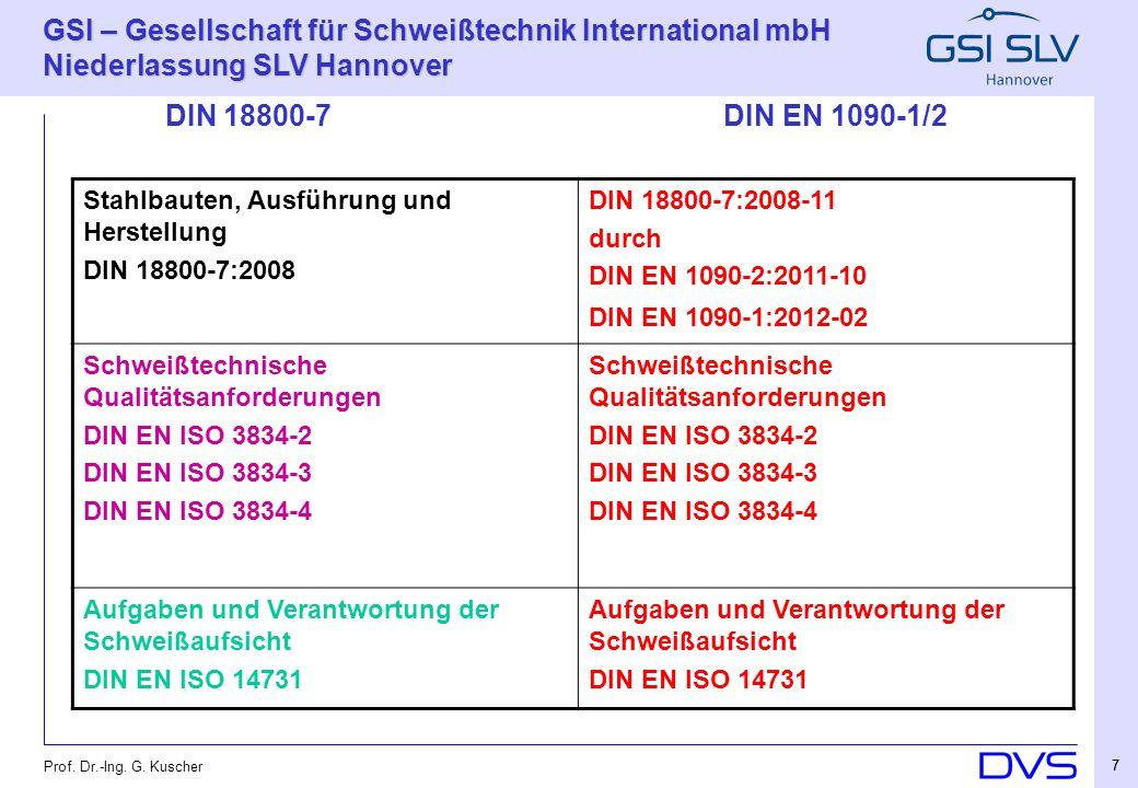 GSI – Gesellschaft für Schweißtechnik International mbH Niederlassung SLV Hannover 28 Prof.