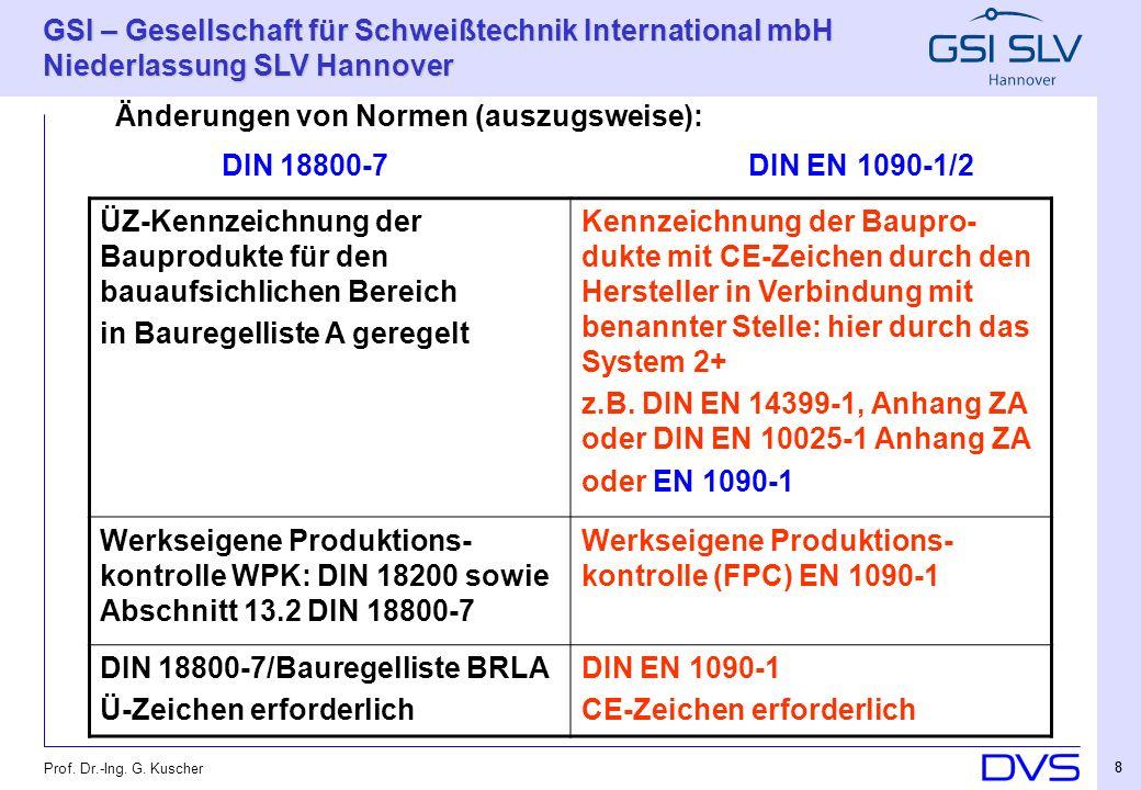 GSI – Gesellschaft für Schweißtechnik International mbH Niederlassung SLV Hannover 29 Prof.
