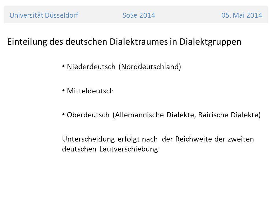 Universität Düsseldorf SoSe 2014 05. Mai 2014 Einteilung des deutschen Dialektraumes in Dialektgruppen Niederdeutsch (Norddeutschland) Mitteldeutsch O
