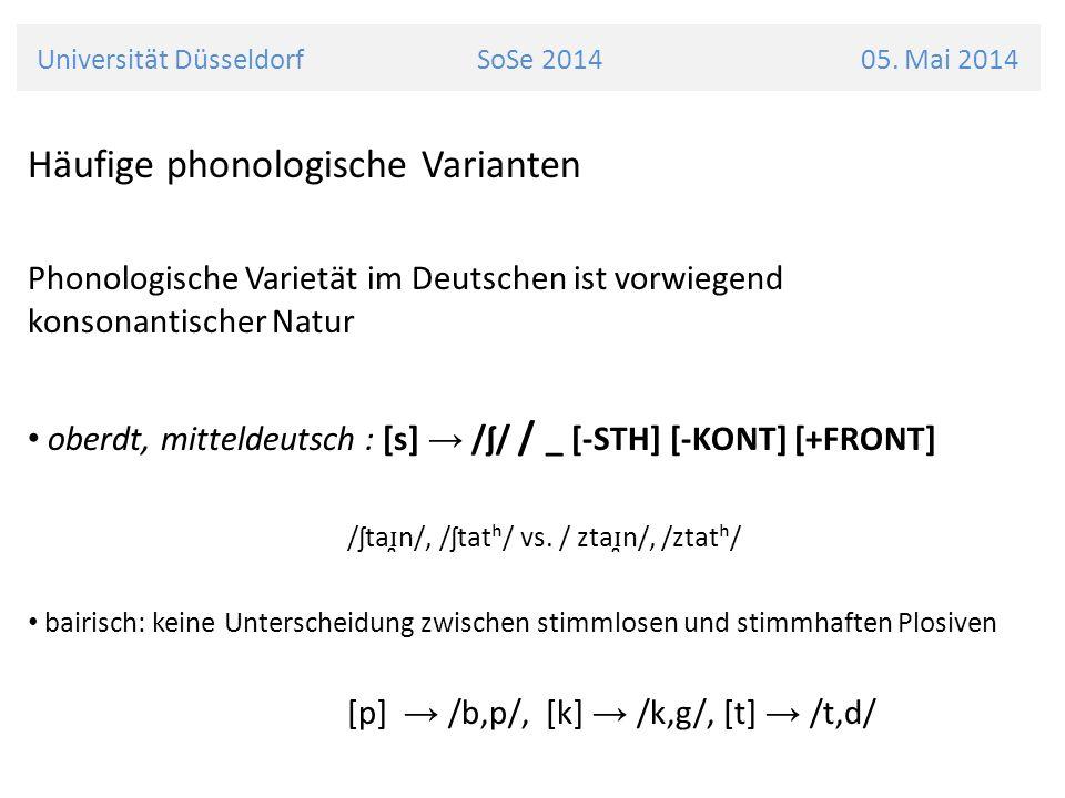 Universität Düsseldorf SoSe 2014 05. Mai 2014 Häufige phonologische Varianten Phonologische Varietät im Deutschen ist vorwiegend konsonantischer Natur