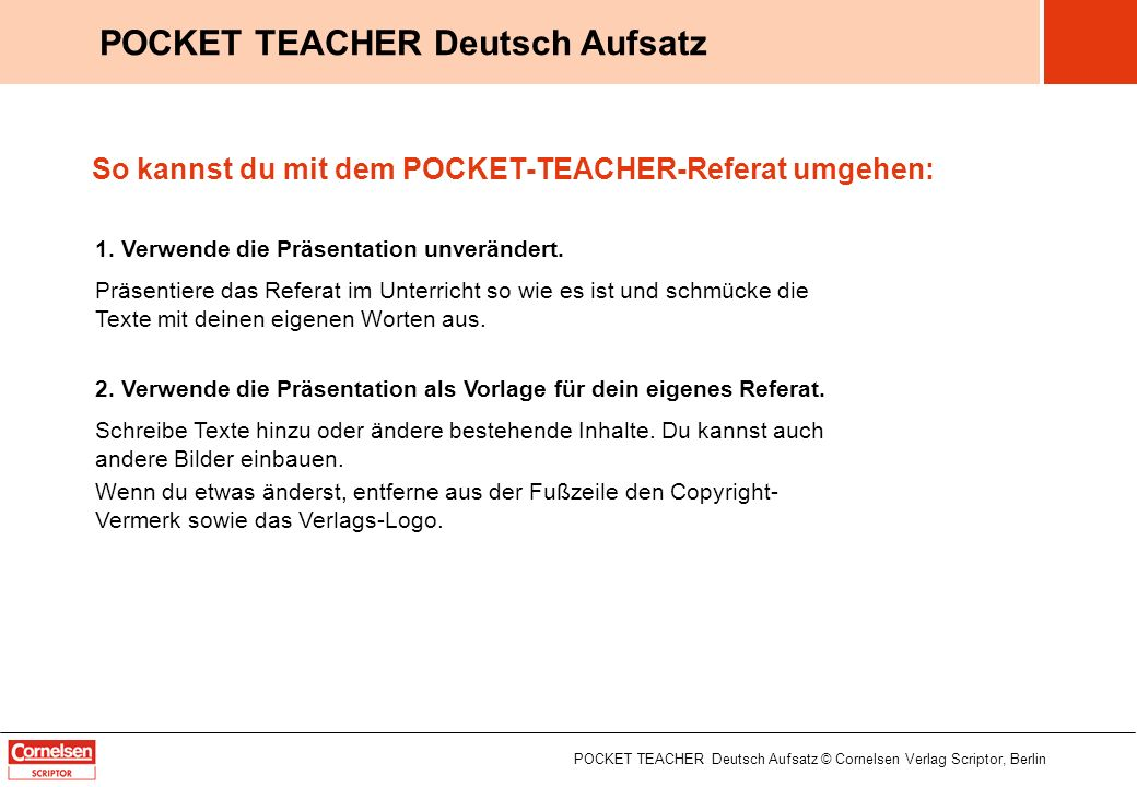 Die Textbeschreibung POCKET TEACHER Deutsch Aufsatz © Cornelsen Verlag Scriptor, Berlin POCKET TEACHER Deutsch Aufsatz 1 / 12