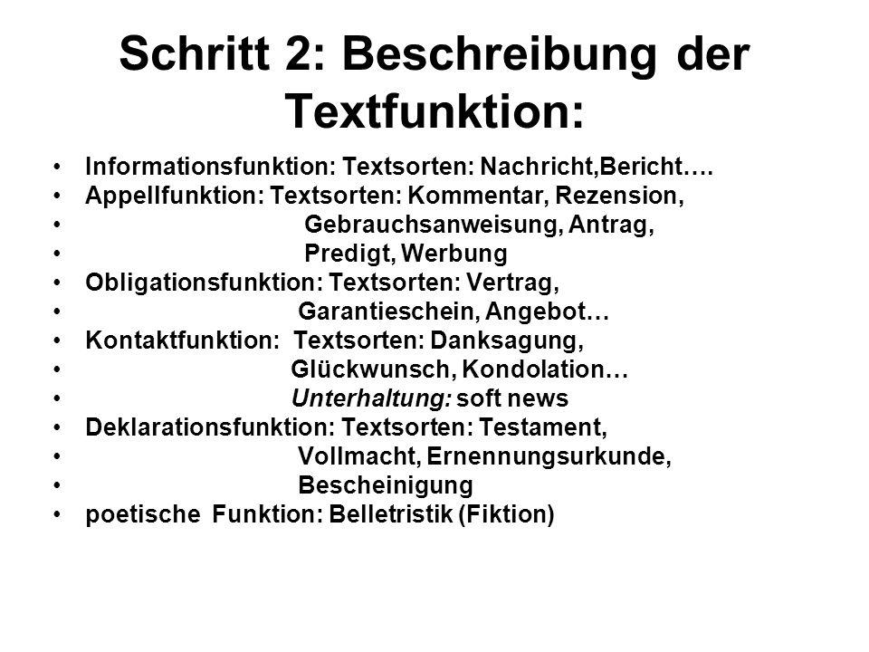 Schritt 2: Beschreibung der Textfunktion: Informationsfunktion: Textsorten: Nachricht,Bericht…. Appellfunktion: Textsorten: Kommentar, Rezension, Gebr