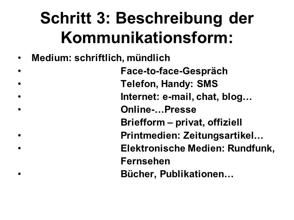 Schritt 3: Beschreibung der Kommunikationsform: Medium: schriftlich, mündlich Face-to-face-Gespräch Telefon, Handy: SMS Internet: e-mail, chat, blog…