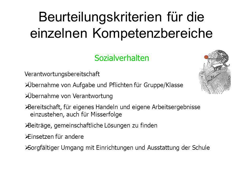 Beurteilungskriterien für die einzelnen Kompetenzbereiche Sozialverhalten Verantwortungsbereitschaft Übernahme von Aufgabe und Pflichten für Gruppe/Kl