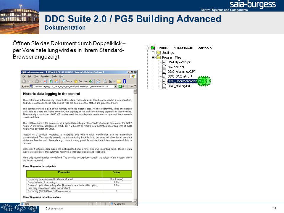 15 Dokumentation DDC Suite 2.0 / PG5 Building Advanced Dokumentation Öffnen Sie das Dokument durch Doppelklick – per Voreinstellung wird es in Ihrem S