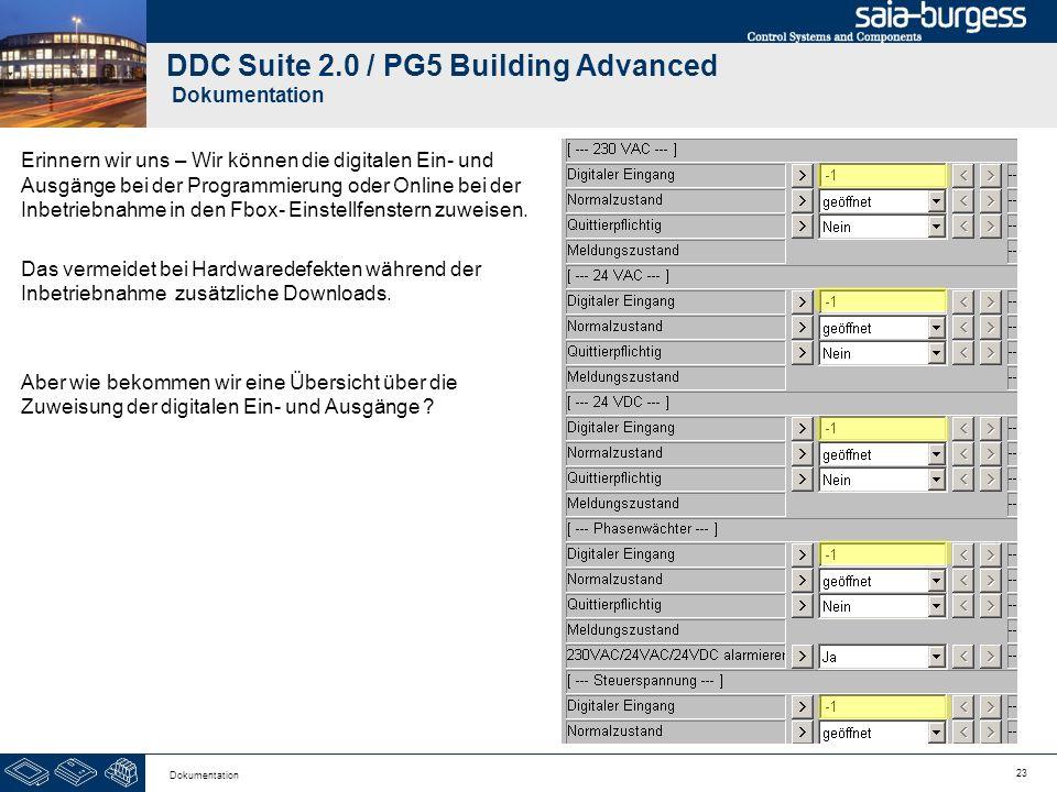 23 Dokumentation DDC Suite 2.0 / PG5 Building Advanced Dokumentation Erinnern wir uns – Wir können die digitalen Ein- und Ausgänge bei der Programmier