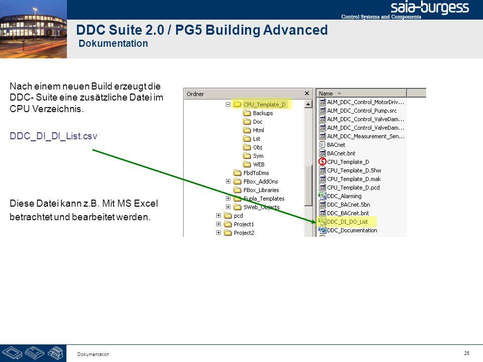 25 Dokumentation DDC Suite 2.0 / PG5 Building Advanced Dokumentation Nach einem neuen Build erzeugt die DDC- Suite eine zusätzliche Datei im CPU Verze