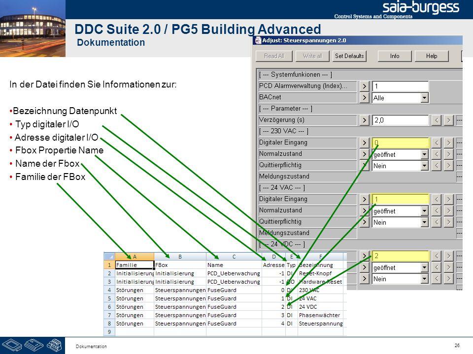26 Dokumentation DDC Suite 2.0 / PG5 Building Advanced Dokumentation In der Datei finden Sie Informationen zur: Bezeichnung Datenpunkt Typ digitaler I