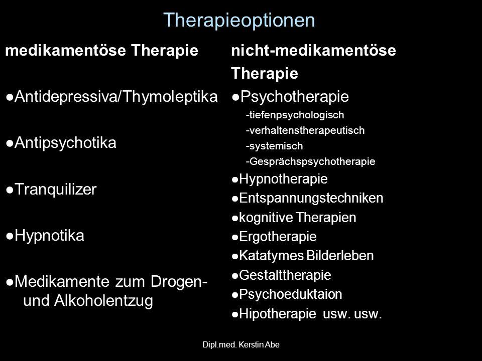 Therapieoptionen medikamentöse Therapie Antidepressiva/ThymoleptikaAntidepressiva/Thymoleptika AntipsychotikaAntipsychotika TranquilizerTranquilizer H