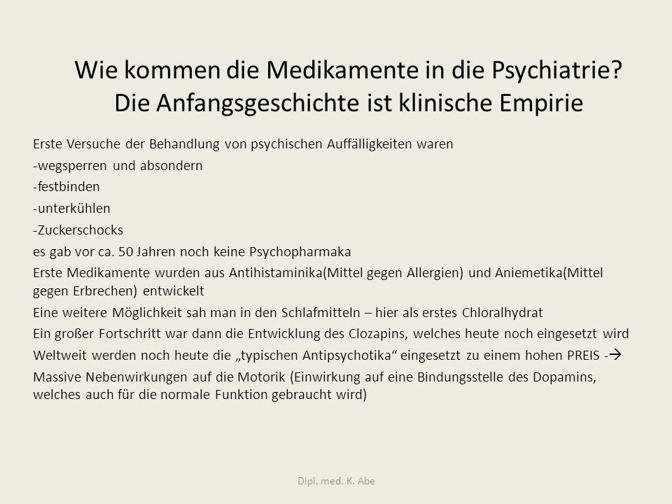 Wie kommen die Medikamente in die Psychiatrie? Die Anfangsgeschichte ist klinische Empirie Erste Versuche der Behandlung von psychischen Auffälligkeit