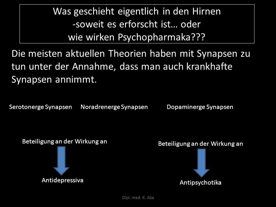 Was geschieht eigentlich in den Hirnen -soweit es erforscht ist… oder wie wirken Psychopharmaka??? Die meisten aktuellen Theorien haben mit Synapsen z