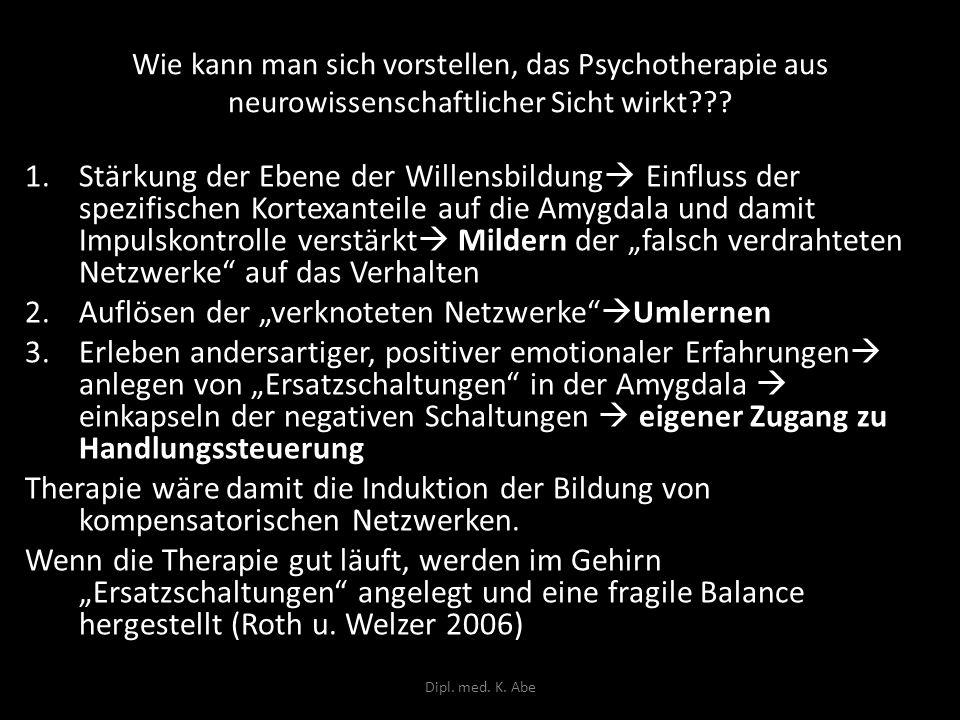 Wie kann man sich vorstellen, das Psychotherapie aus neurowissenschaftlicher Sicht wirkt??? 1.Stärkung der Ebene der Willensbildung Einfluss der spezi