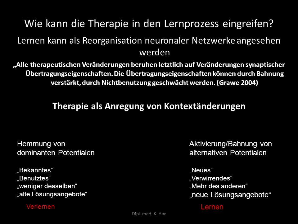 Wie kann die Therapie in den Lernprozess eingreifen? Lernen kann als Reorganisation neuronaler Netzwerke angesehen werden Alle therapeutischen Verände