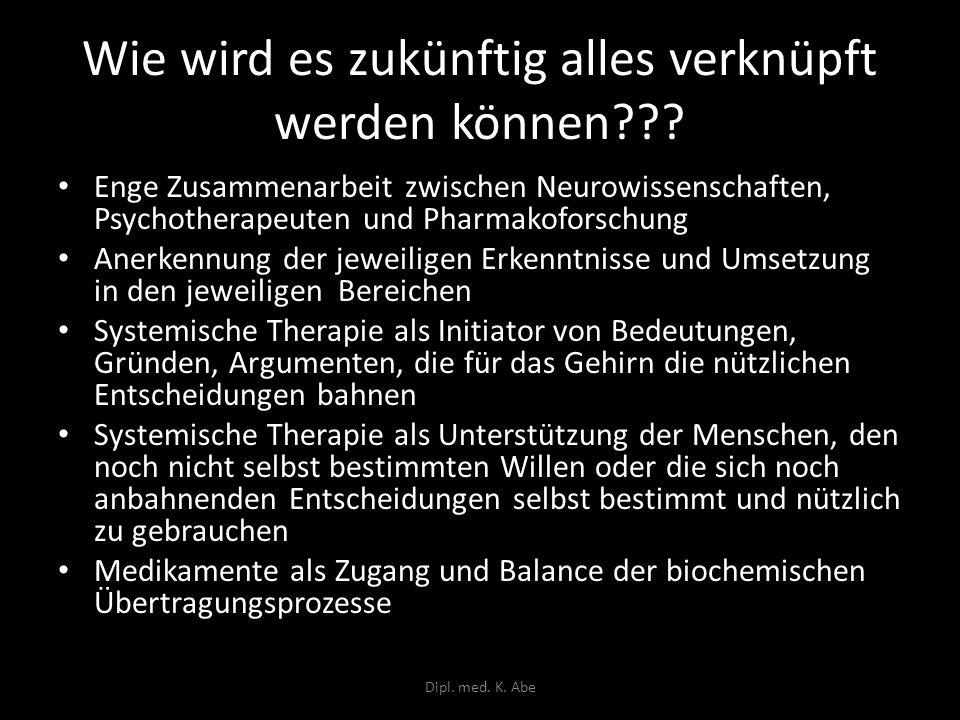 Wie wird es zukünftig alles verknüpft werden können??? Enge Zusammenarbeit zwischen Neurowissenschaften, Psychotherapeuten und Pharmakoforschung Anerk