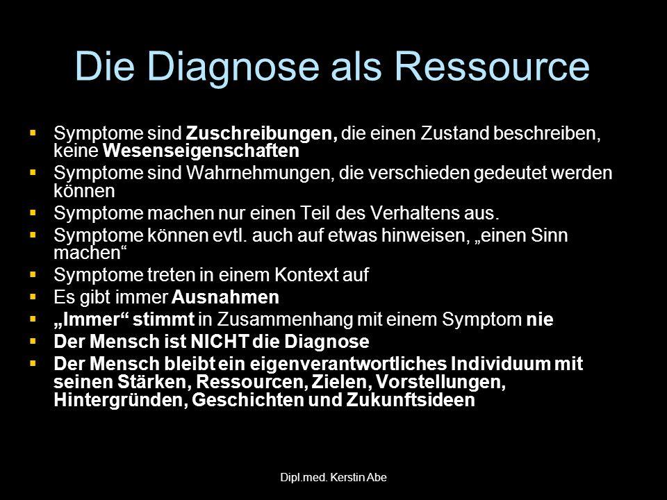 Die Diagnose als Ressource Symptome sind Zuschreibungen, die einen Zustand beschreiben, keine Wesenseigenschaften Symptome sind Zuschreibungen, die ei