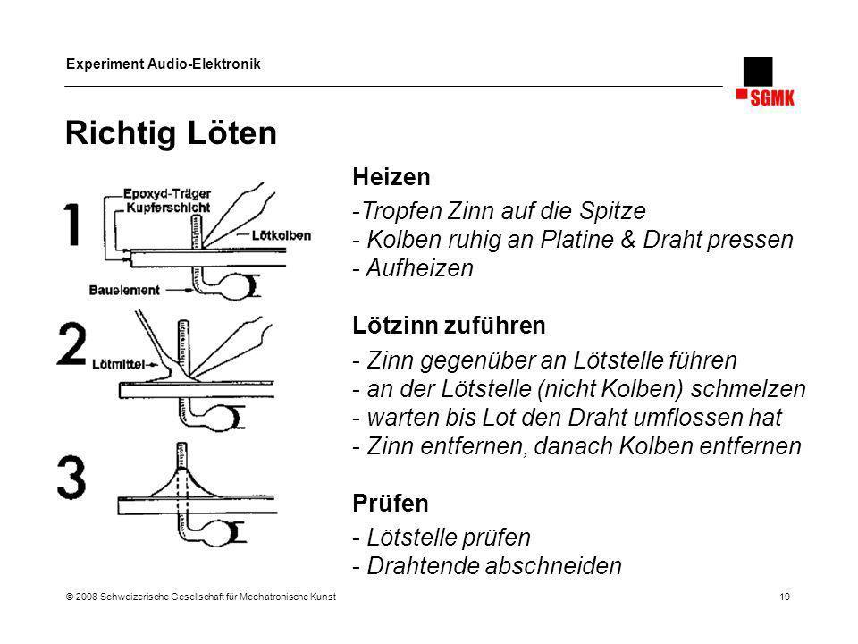 Experiment Audio-Elektronik © 2008 Schweizerische Gesellschaft für Mechatronische Kunst 19 Richtig Löten Heizen -Tropfen Zinn auf die Spitze - Kolben