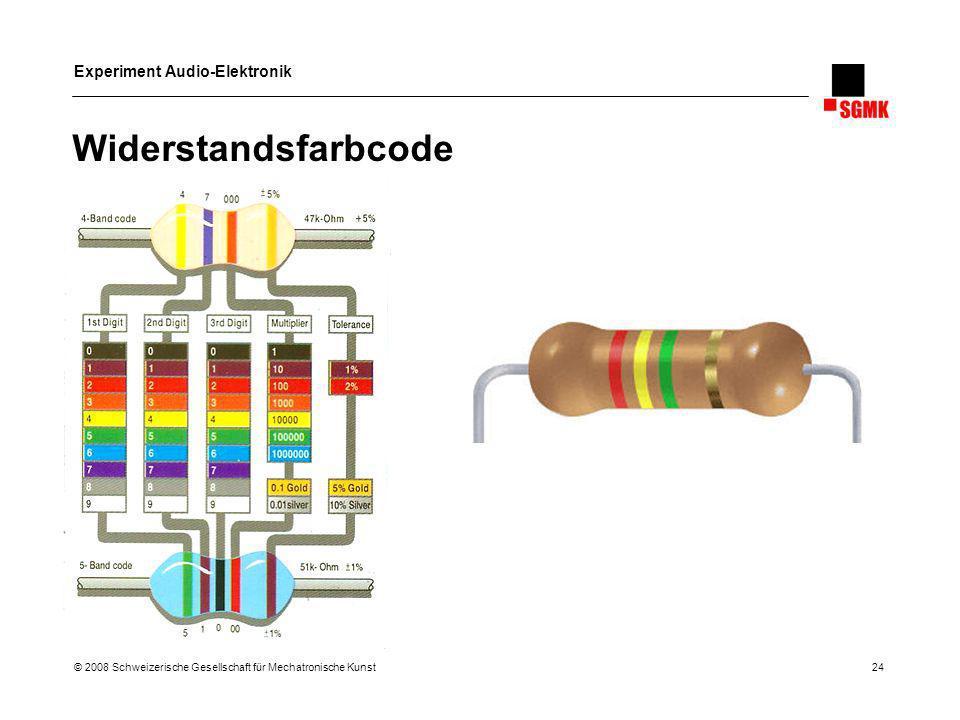 Experiment Audio-Elektronik © 2008 Schweizerische Gesellschaft für Mechatronische Kunst 24 Widerstandsfarbcode