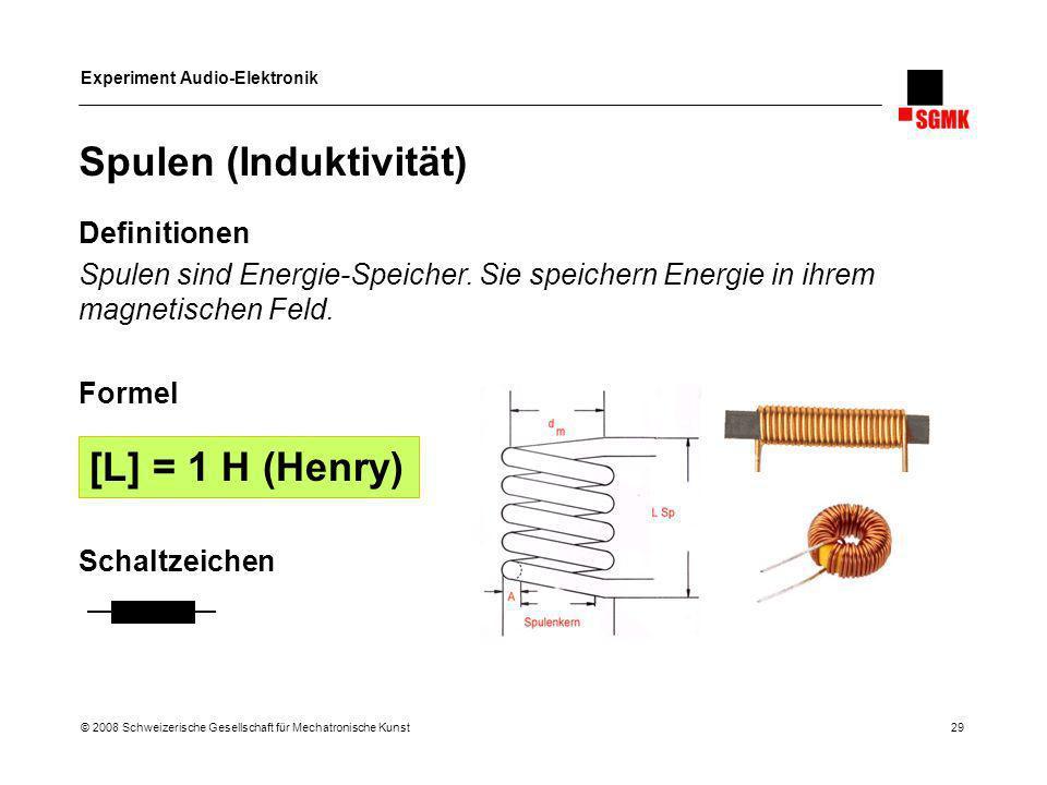 Experiment Audio-Elektronik © 2008 Schweizerische Gesellschaft für Mechatronische Kunst 29 Spulen (Induktivität) Definitionen Spulen sind Energie-Spei