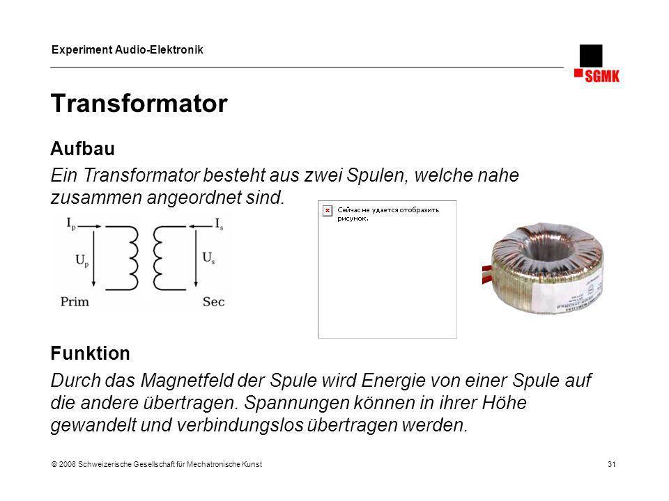 Experiment Audio-Elektronik © 2008 Schweizerische Gesellschaft für Mechatronische Kunst 31 Transformator Aufbau Ein Transformator besteht aus zwei Spu