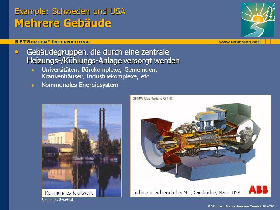 © Minister of Natural Resources Canada 2001 – 2005. Example: Schweden und USA Mehrere Gebäude Gebäudegruppen, die durch eine zentrale Heizungs-/Kühlun