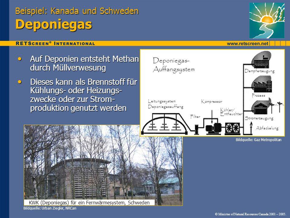 © Minister of Natural Resources Canada 2001 – 2005. KWK (Deponiegas) für ein Fernwärmesystem, Schweden Beispiel: Kanada und Schweden Deponiegas Auf De