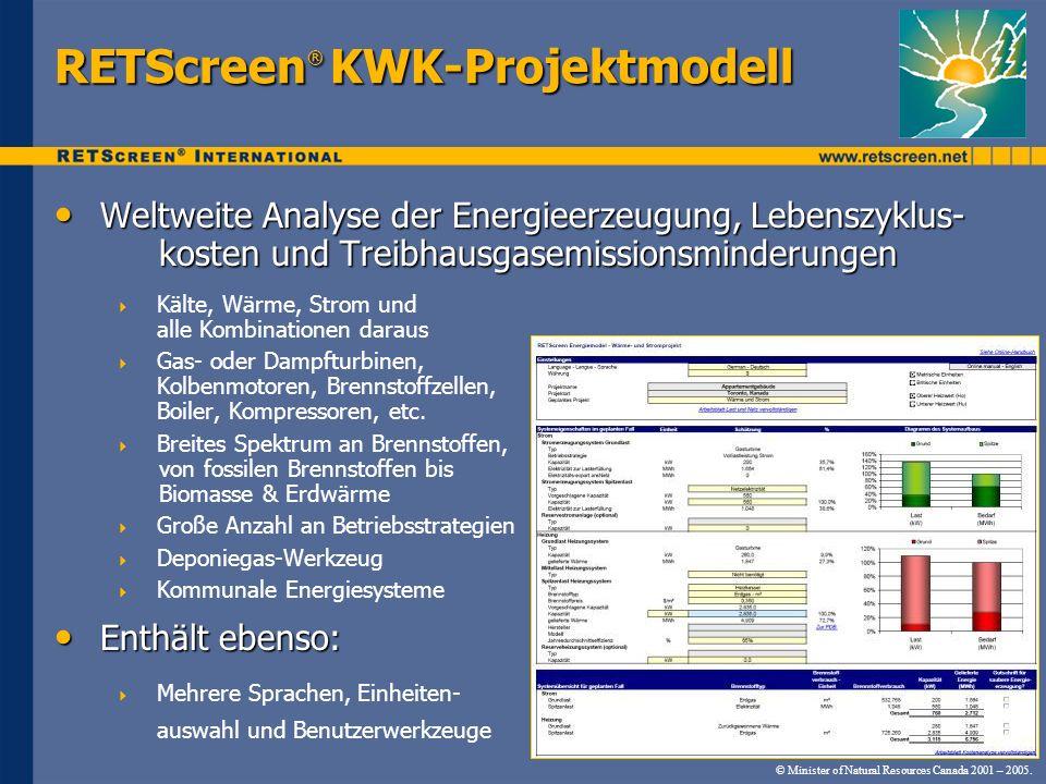 © Minister of Natural Resources Canada 2001 – 2005. RETScreen ® KWK-Projektmodell Weltweite Analyse der Energieerzeugung, Lebenszyklus- kosten und Tre