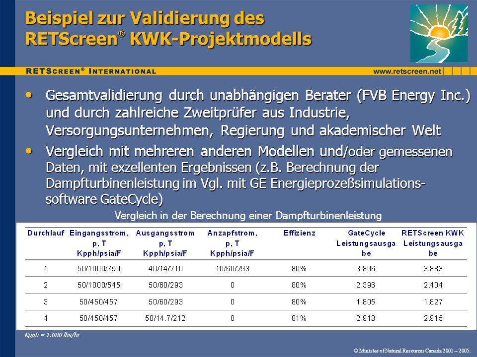 © Minister of Natural Resources Canada 2001 – 2005. Beispiel zur Validierung des RETScreen ® KWK-Projektmodells Gesamtvalidierung durch unabhängigen B
