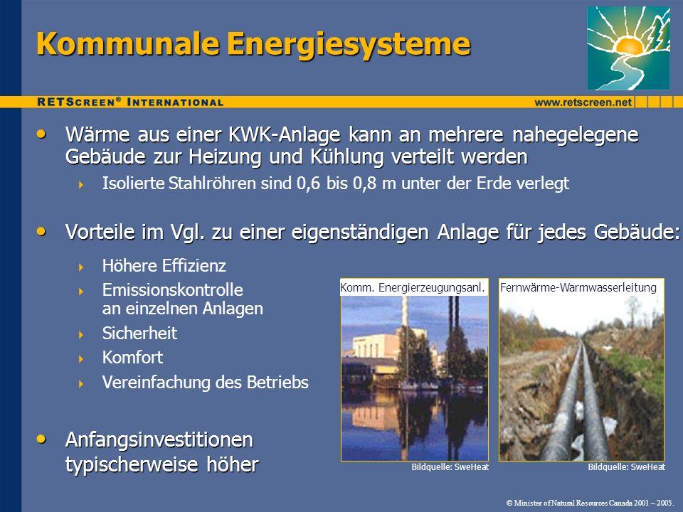 © Minister of Natural Resources Canada 2001 – 2005. Wärme aus einer KWK-Anlage kann an mehrere nahegelegene Gebäude zur Heizung und Kühlung verteilt w