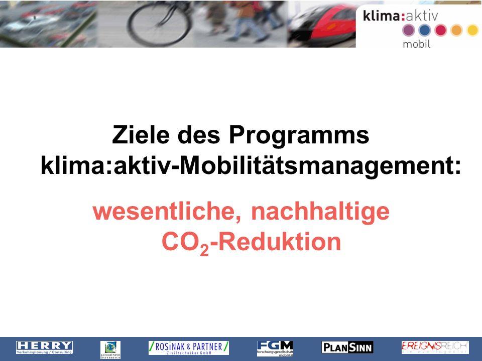 Ziele des Programms klima:aktiv-Mobilitätsmanagement: wesentliche, nachhaltige CO 2 -Reduktion