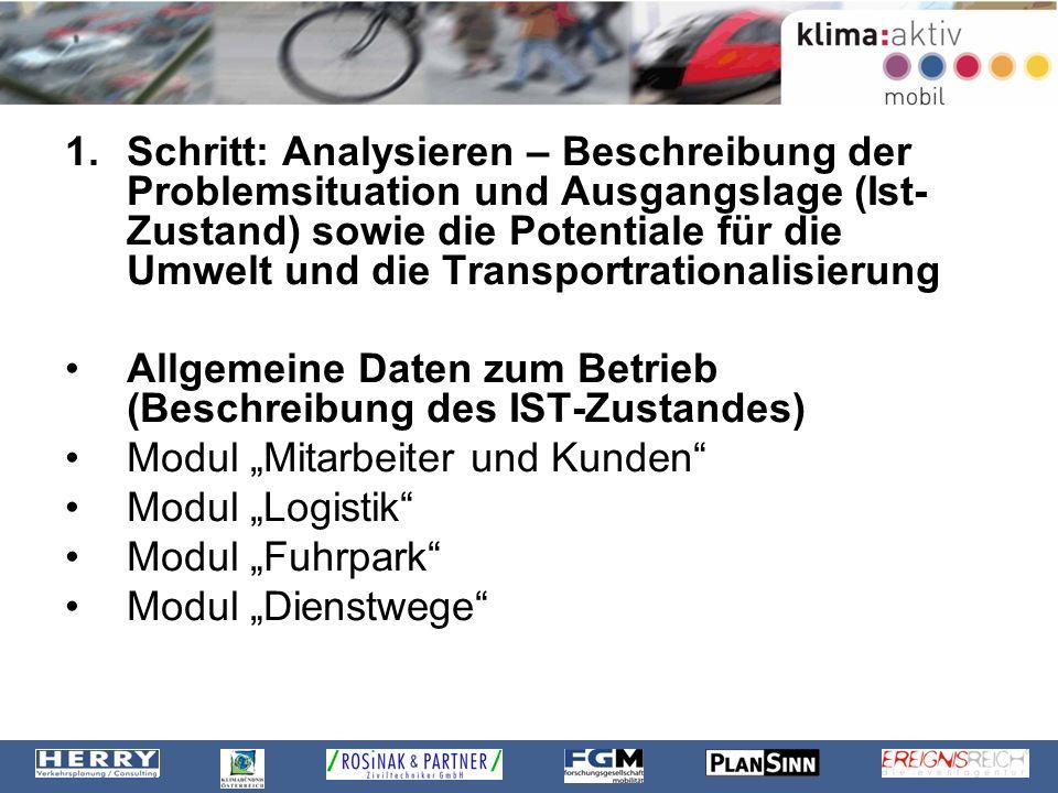 1.Schritt: Analysieren – Beschreibung der Problemsituation und Ausgangslage (Ist- Zustand) sowie die Potentiale für die Umwelt und die Transportration