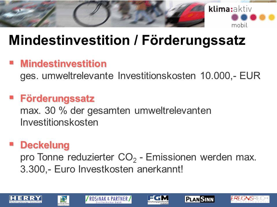 Mindestinvestition / Förderungssatz Mindestinvestition Mindestinvestition ges. umweltrelevante Investitionskosten 10.000,- EUR Förderungssatz Förderun