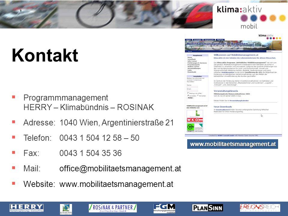 Kontakt Programmmanagement HERRY – Klimabündnis – ROSINAK Adresse: 1040 Wien, Argentinierstraße 21 Telefon:0043 1 504 12 58 – 50 Fax:0043 1 504 35 36