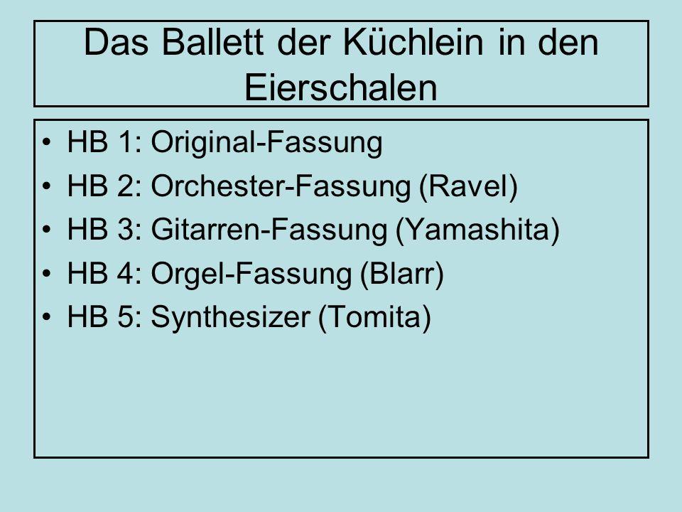 Instrumentation/Bearbeitungen Original (Mussorgski): Klavier (solo) Maurice Ravel: Orchesterfassung (1922) für Akkordeon (Würthner) für Gitarre(n) (Wallisch, Yamashita) Synthesizer-Fassung (Tomita) Orgel (Blarr) Rock: Emerson, Lake & Palmer Metal: Mekong Delta