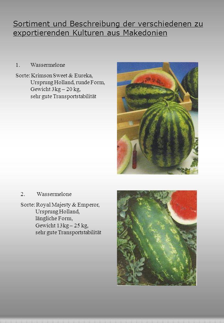 Sortiment und Beschreibung der verschiedenen zu exportierenden Kulturen aus Makedonien 1.Wassermelone Sorte: Krimson Sweet & Eureka, Ursprung Holland, runde Form, Gewicht 3kg – 20 kg, sehr gute Transportstabilität 2.