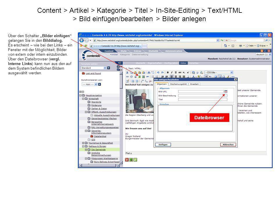 Content > Artikel > Kategorie > Titel > In-Site-Editing > Text/HTML > Bild einfügen/bearbeiten > Bilder anlegen Über den Schalter Bilder einfügen gela