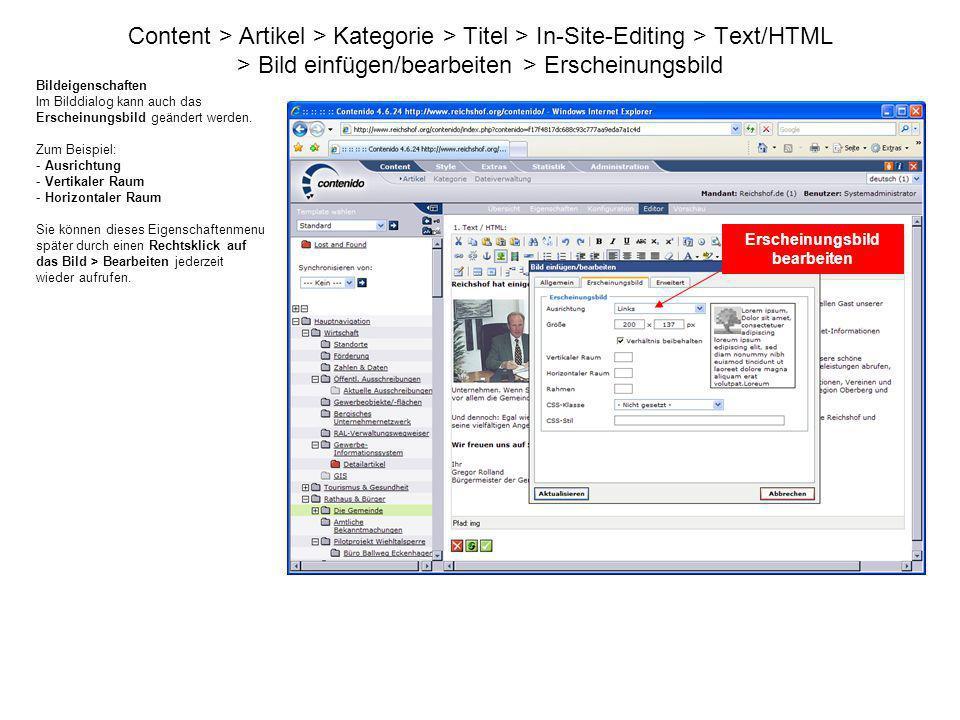 Content > Artikel > Kategorie > Titel > In-Site-Editing > Text/HTML > Bild einfügen/bearbeiten > Erscheinungsbild Bildeigenschaften Im Bilddialog kann