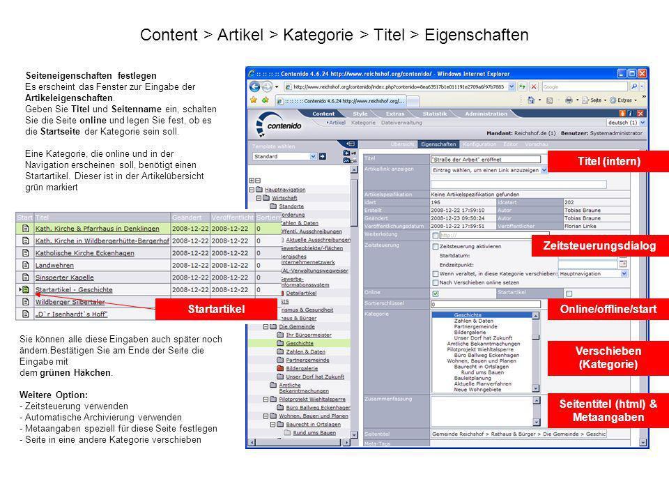 Content > Artikel > Kategorie > Titel > Eigenschaften Seiteneigenschaften festlegen Es erscheint das Fenster zur Eingabe der Artikeleigenschaften. Geb