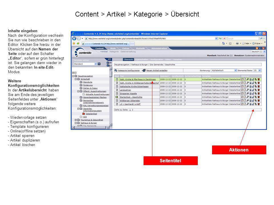 Content > Artikel > Kategorie > Übersicht Inhalte eingeben Nach der Konfiguration wechseln Sie nun wie beschrieben in den Editor. Klicken Sie hierzu i