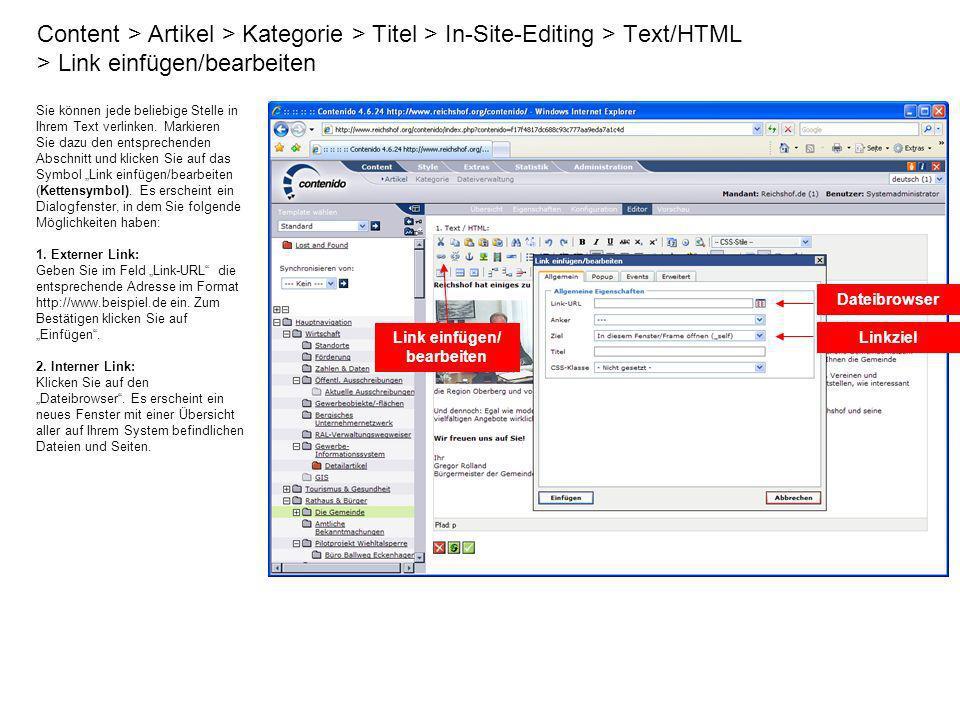 Content > Artikel > Kategorie > Titel > In-Site-Editing > Text/HTML > Link einfügen/bearbeiten Sie können jede beliebige Stelle in Ihrem Text verlinke