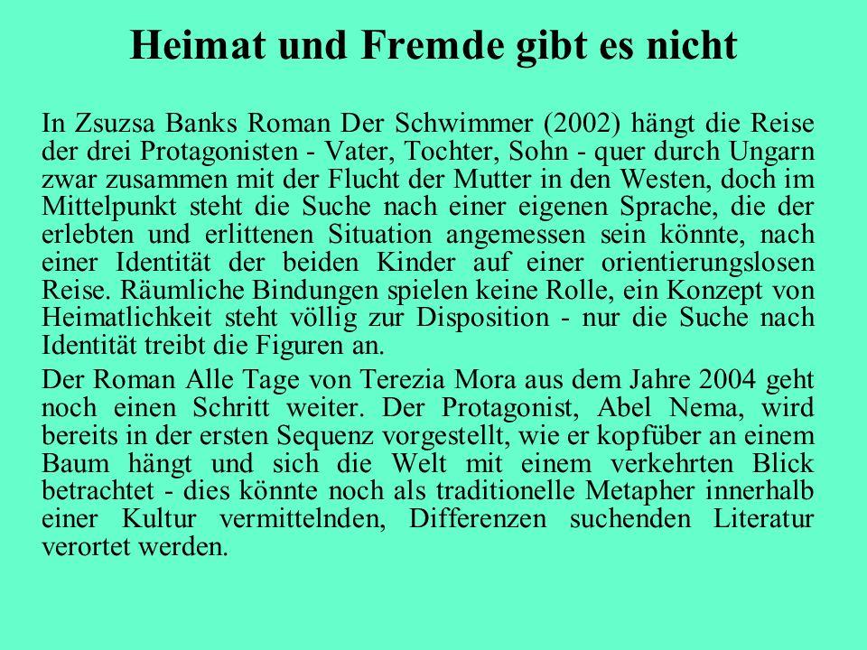 Heimat und Fremde gibt es nicht In Zsuzsa Banks Roman Der Schwimmer (2002) hängt die Reise der drei Protagonisten - Vater, Tochter, Sohn - quer durch