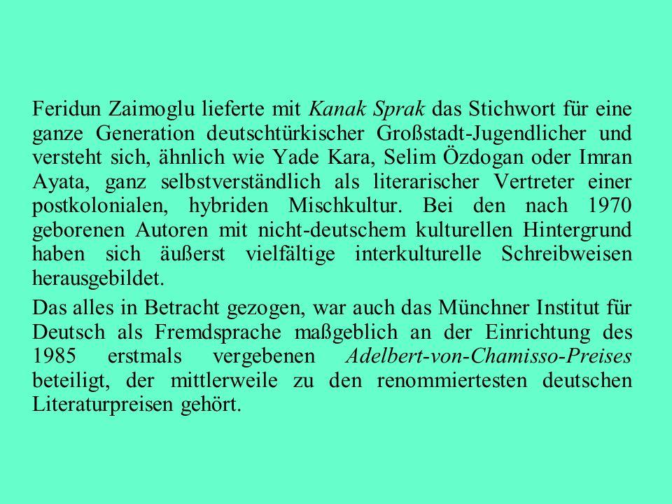 Feridun Zaimoglu lieferte mit Kanak Sprak das Stichwort für eine ganze Generation deutschtürkischer Großstadt-Jugendlicher und versteht sich, ähnlich