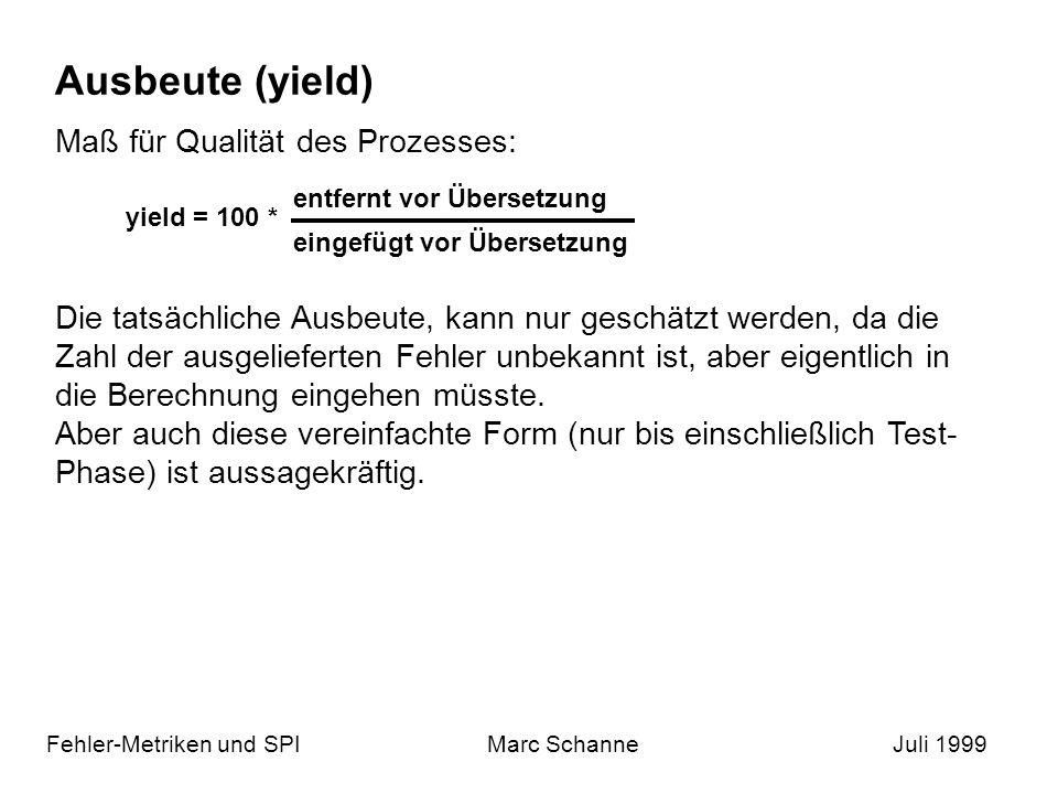 Ausbeute (yield) Fehler-Metriken und SPIMarc SchanneJuli 1999 yield = 100 * entfernt vor Übersetzung eingefügt vor Übersetzung Maß für Qualität des Prozesses: Die tatsächliche Ausbeute, kann nur geschätzt werden, da die Zahl der ausgelieferten Fehler unbekannt ist, aber eigentlich in die Berechnung eingehen müsste.